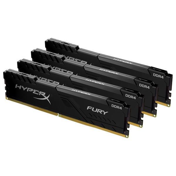 【在庫目安:お取り寄せ】 キングストン HX426C16FB4K4/64 16GBx4枚 DDR4 2666MHz CL16 1.2V HyperX Fury Black OC Unbuffered DIMM PC4-21300