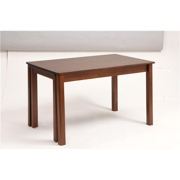 伸長式ダイニングテーブル/エクステンションテーブル 〔幅120〜200cm〕 レトロ調 レトロ調 木製 インナーキャスター仕様〔代引不可〕