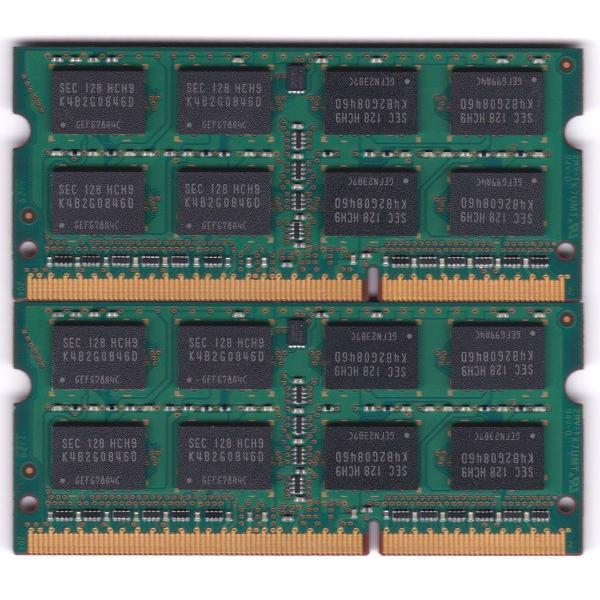 SAMSUNG PC3-10600S (DDR3-1333) 4GB x 2枚組み 合計8GB SO-DIMM 204pin ノートパソコン用メモリ 両面実装 (2Rx8) の2枚組 動作保証品|pc-parts-firm|02