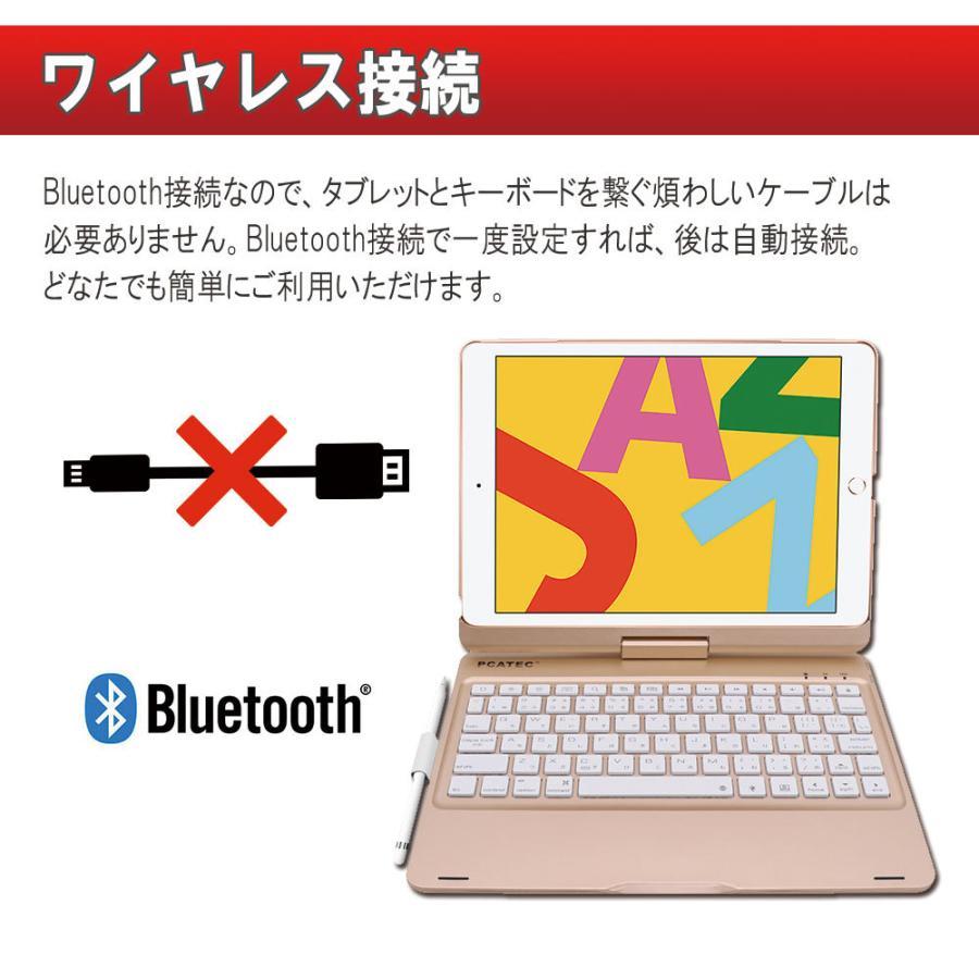 送料無料 iPad 10.2/9.7 (2018/2017)/air1/pro9.7/ air2/pro10.5/air3/Pro11 用/選択可能 かな日本語入力対応 キーボードケース 360度回転機能 7色LED pcastore 04
