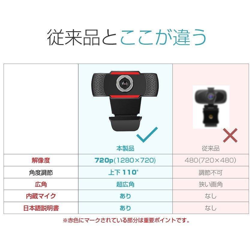ウェブカメラ マイク内蔵 Webカメラ 720p HD Windows MacOS対応 パソコン ノートパソコン用 PCカメラ 在宅勤務 web会議 テレワーク zoom 用 pctky 06