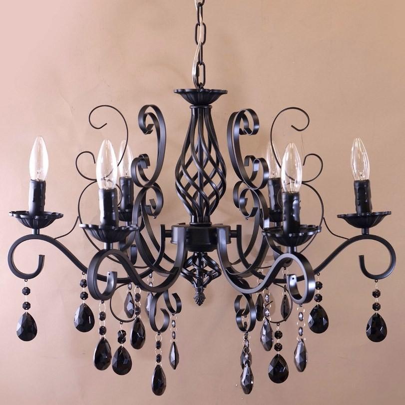シャンデリア6灯 ブラック・ホワイト ヨーロピアン シャンデリア アンティーク照明 天井照明