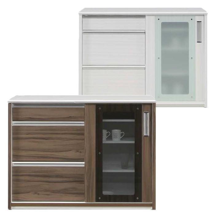 食器棚 キッチンボード カウンター バーカウンター 幅120 引き出し 可動棚 北欧 モダン 完成品