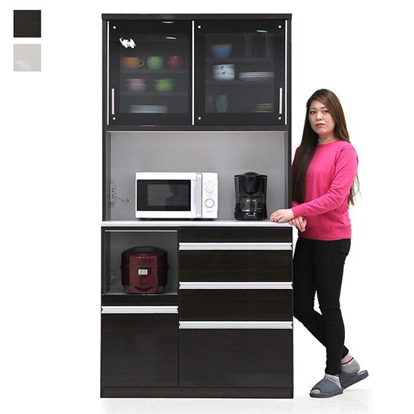 ダイニングボード キッチンボード 幅100cm 完成品 引き戸 モイス ハイタイプ 食器棚 レンジ台 キッチン収納
