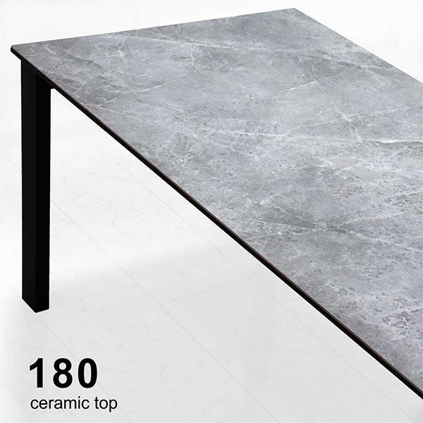 ダイニングテーブル セラミック 幅180cm 耐熱 作業台 鏡面テーブル 光沢 石目調 グレー