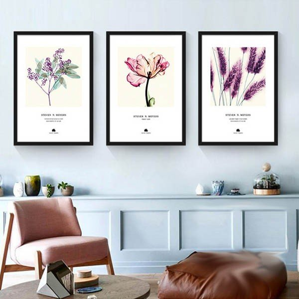 30×40cm アートパネル 3枚セット枠付きフレーム絵画 植物 ボタニカル 紫色 模写 水彩画風 水彩画風 カラフル 抽象画 壁掛け インテリア絵画 ウォールデコ