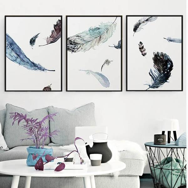 選べる4サイズ アートパネル 3枚セット枠付き フレーム絵画 水彩画風 フェザー 羽根 抽象画 鮮やか 壁掛け 壁掛け インテリア絵画 ウォールデコ