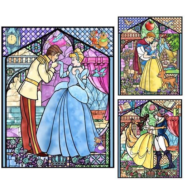 フル ダイヤモンド刺繍 キット ビーズ刺繍 ステンドグラス風 シンデレラ 白雪姫 美女と野獣 モザイクアート リハビリ 趣味 絵画 カラービーズ peachy