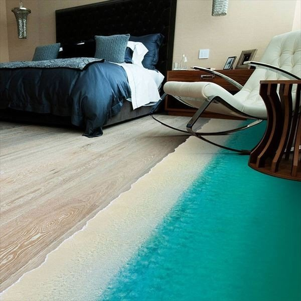 ウォールステッカー 床用 砂浜 海 だまし絵 トリックアート インテリアステッカー リアル 転写  DIY 剥がせる|peachy|02
