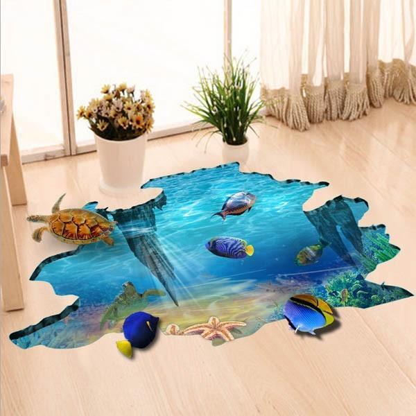 床用 ウォールステッカー 地面の穴 海底 熱帯魚 海 だまし絵 トリックアート インテリアシール 壁デコ 北欧風 DIY リビング peachy