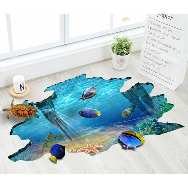 床用 ウォールステッカー 地面の穴 海底 熱帯魚 海 だまし絵 トリックアート インテリアシール 壁デコ 北欧風 DIY リビング peachy 02