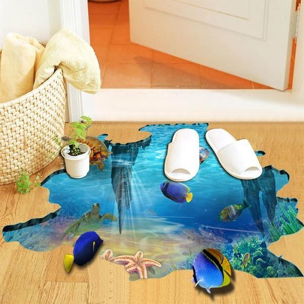 床用 ウォールステッカー 地面の穴 海底 熱帯魚 海 だまし絵 トリックアート インテリアシール 壁デコ 北欧風 DIY リビング peachy 03