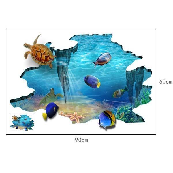 床用 ウォールステッカー 地面の穴 海底 熱帯魚 海 だまし絵 トリックアート インテリアシール 壁デコ 北欧風 DIY リビング peachy 04