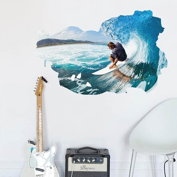 ウォールステッカー サーフィン 波乗り 海 アート インテリアシール 窓枠 壁デコレーション 北欧風 DIY リビング peachy