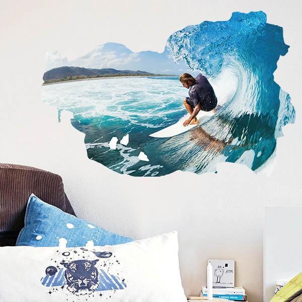 ウォールステッカー サーフィン 波乗り 海 アート インテリアシール 窓枠 壁デコレーション 北欧風 DIY リビング peachy 02