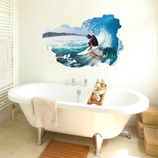 ウォールステッカー サーフィン 波乗り 海 アート インテリアシール 窓枠 壁デコレーション 北欧風 DIY リビング peachy 03