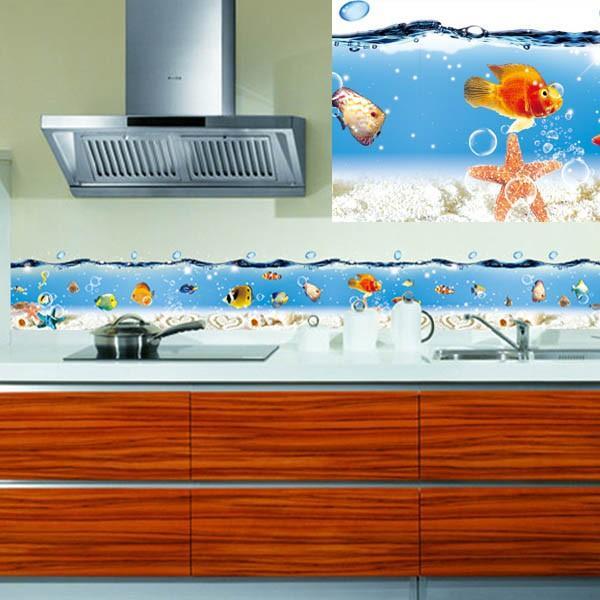 ウォールステッカー ライン状 海の中 熱帯魚 台所 風呂場用 インテリア 壁デコ 北欧風 DIY 剥がせる peachy