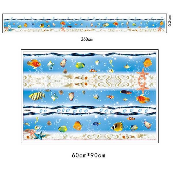 ウォールステッカー ライン状 海の中 熱帯魚 台所 風呂場用 インテリア 壁デコ 北欧風 DIY 剥がせる peachy 05
