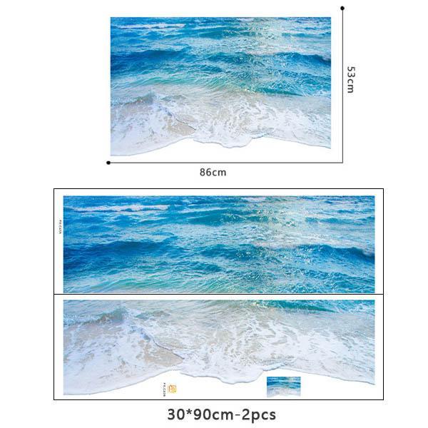 ウォールステッカー 床用 波打つビーチ  海 だまし絵 トリックアート インテリアステッカー リアル 転写  DIY 剥がせる|peachy|04