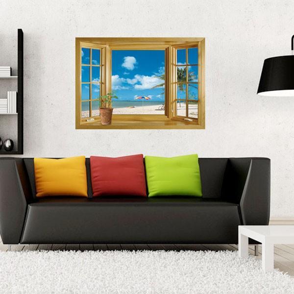 ウォールステッカー 木枠窓 ビーチ 海辺 だまし絵 アートステッカー インテリア 壁デコ 北欧風 DIY 剥がせる|peachy