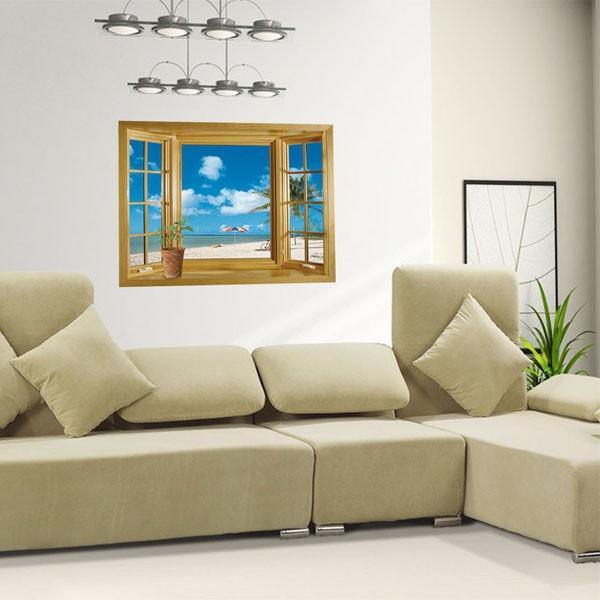 ウォールステッカー 木枠窓 ビーチ 海辺 だまし絵 アートステッカー インテリア 壁デコ 北欧風 DIY 剥がせる|peachy|02