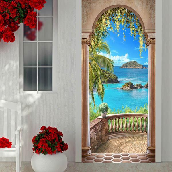 ドアステッカー トリックアート オーシャンビュー ハワイアン バルコニー ヤシの葉 海 だまし絵シール 木製 本棚柄壁紙 インテリア DIY|peachy