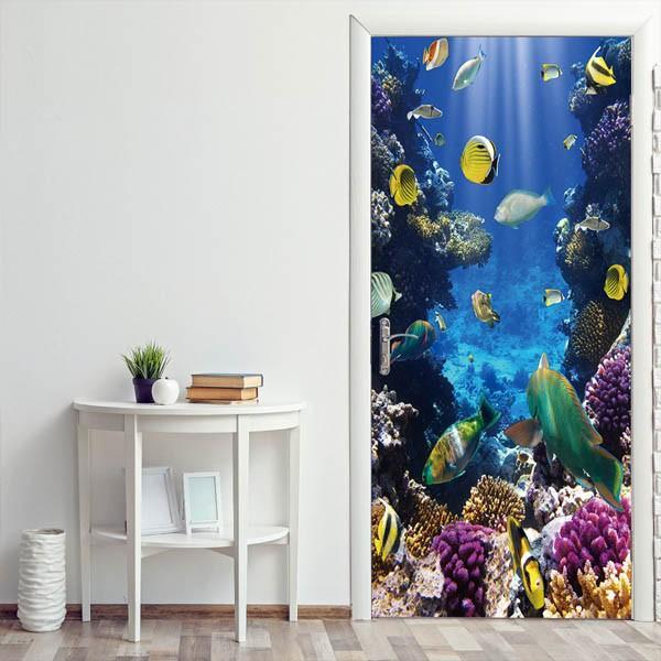ドアステッカー トリックアート 海底 珊瑚礁 熱帯魚 南国 エメラルドグリーン だまし絵シール インテリア DIY|peachy