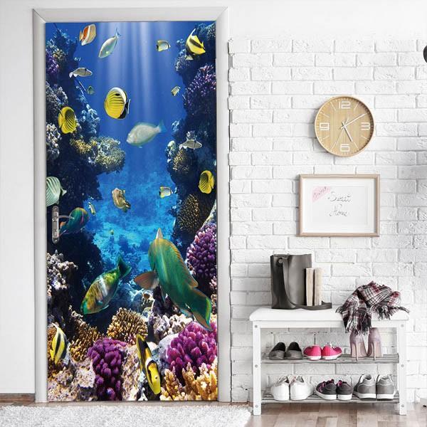 ドアステッカー トリックアート 海底 珊瑚礁 熱帯魚 南国 エメラルドグリーン だまし絵シール インテリア DIY|peachy|02