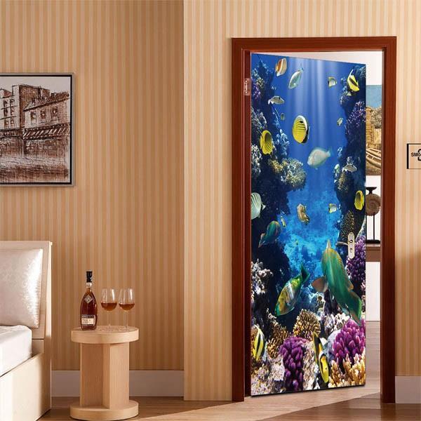 ドアステッカー トリックアート 海底 珊瑚礁 熱帯魚 南国 エメラルドグリーン だまし絵シール インテリア DIY|peachy|03