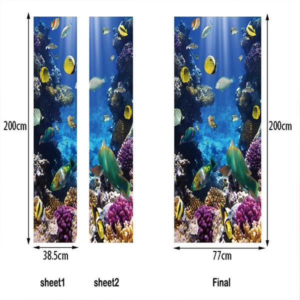 ドアステッカー トリックアート 海底 珊瑚礁 熱帯魚 南国 エメラルドグリーン だまし絵シール インテリア DIY|peachy|04