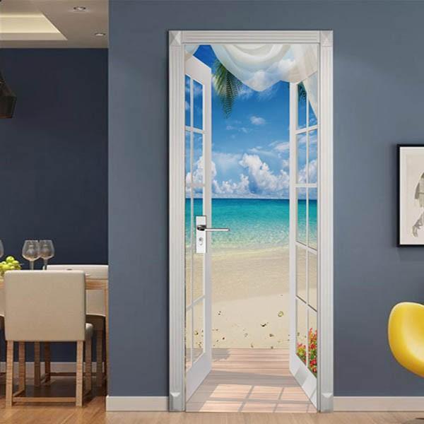 ドアステッカー トリックアート 海辺 ビーチ 白いカーテン だまし絵シール 隠し部屋 部屋の壁紙 インテリア DIY|peachy|02