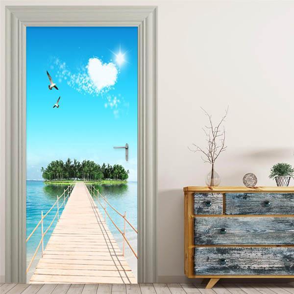 ドアステッカー トリックアート 島へ続く桟橋 海 南国 リゾート だまし絵シール 木製 本棚柄壁紙 インテリア DIY|peachy|02