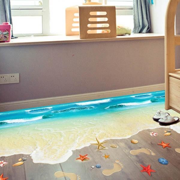 ウォールステッカー 床用 波の砂浜 海 足跡 だまし絵 トリックアート インテリアステッカー リアル 転写  DIY 剥がせる peachy
