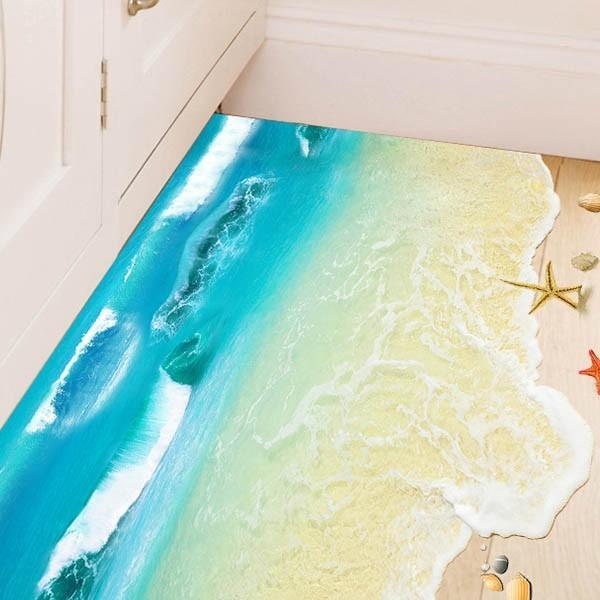 ウォールステッカー 床用 波の砂浜 海 足跡 だまし絵 トリックアート インテリアステッカー リアル 転写  DIY 剥がせる peachy 02