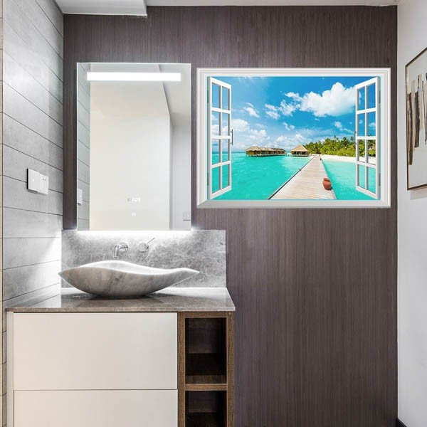 ウォールステッカー 海 コテージ ブルーラグーン タヒチ アート インテリア 窓枠 壁デコ 北欧風 DIY リビング peachy 03