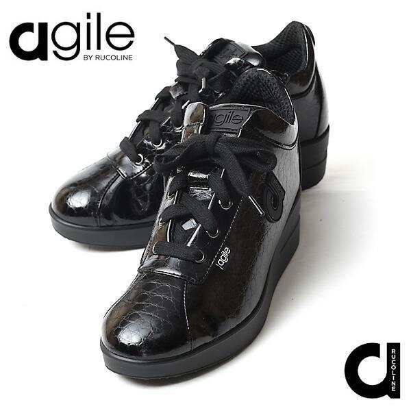 ルコライン 靴 アージレ agile by RUCO LINE 靴 Baby Croco ブラック 黒 agile-112 スニーカー アージレ バイ ルコライン pendant