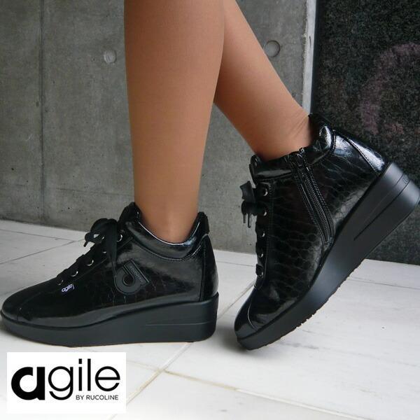 ルコライン 靴 アージレ agile by RUCO LINE 靴 Baby Croco ブラック 黒 agile-112 スニーカー アージレ バイ ルコライン pendant 06
