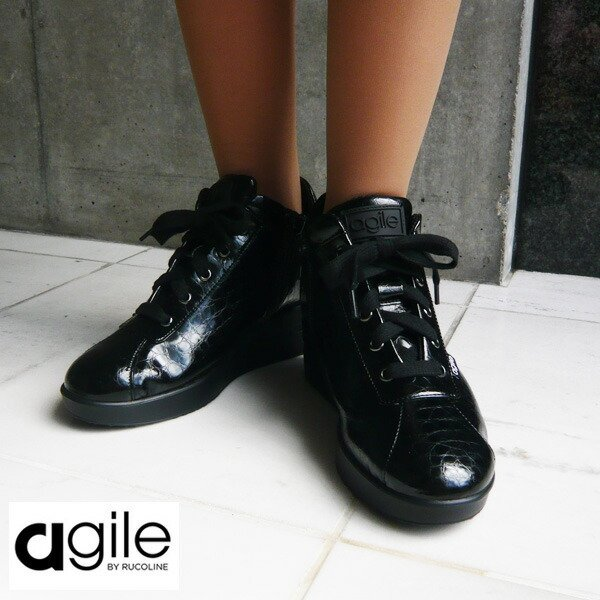 ルコライン 靴 アージレ agile by RUCO LINE 靴 Baby Croco ブラック 黒 agile-112 スニーカー アージレ バイ ルコライン pendant 07