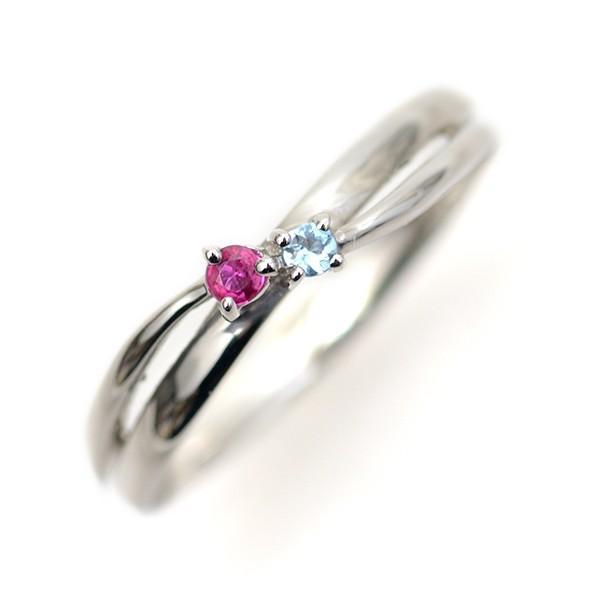 選べる 誕生石 2石 天然石 プラチナ リング 結婚2周年 2年目の記念日 20周年 ウェーブ クロス Pt900 指輪 ギフト セミオーダー pendant 08