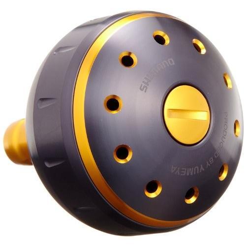 シマノ リール 夢屋 アルミラウンド型 パワーハンドルノブ ブラック/ゴールド Lノブ TypeB用 26293 パーツ