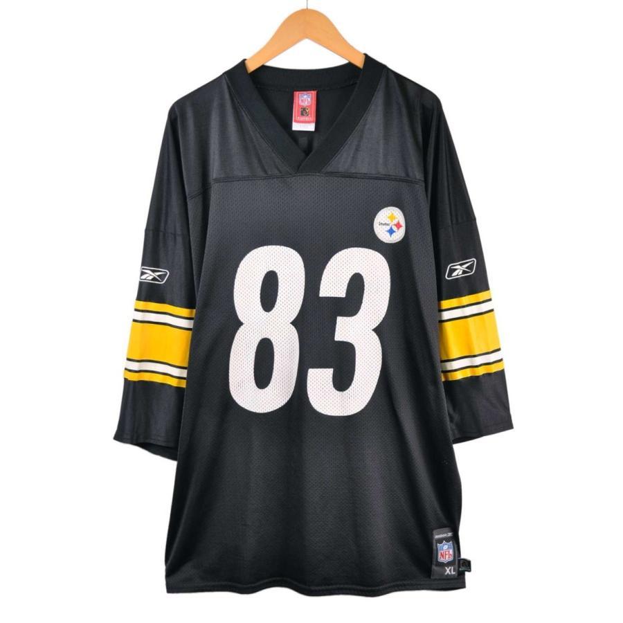 ビッグサイズ リーボック NFL ピッツバーグ・スティーラーズ MILLER ミラー フットボールシャツ ナンバリング ユニフォーム メッシュ ブラック 2XL相当