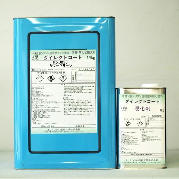 「ベロ付(注ぎ口)」ダイレクトコート (3820 サマーグリーン) 15Kg/セット 屋根 ペンキ DIY 塗替え 水性 カラーベスト セメント瓦 カラートタン
