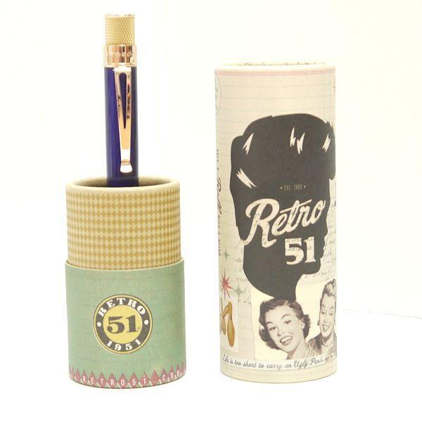 レトロ51 ボールペン トルネード ゴールドライン ブルー/ゴールド|penpapi|05