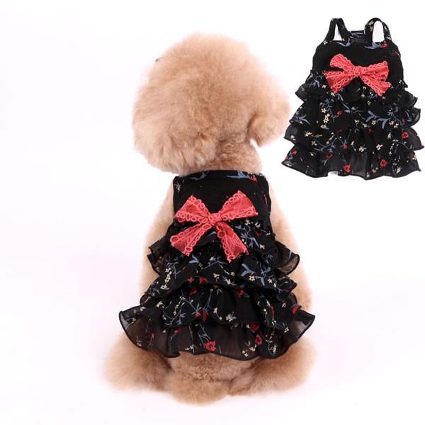 犬服 犬 服 春夏 花柄 リボン付き シフォン ワンピース 薄手 ホワイト ブラック pepedogcat 04
