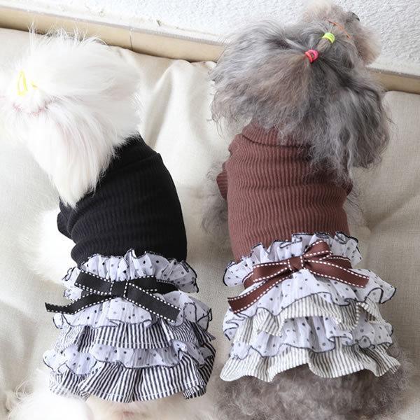 ◎★SALE★新作 犬服 犬 服 ハイネック フリルスカート ワンピース XS S M L XL ブラック ブラウン|pepedogcat|03