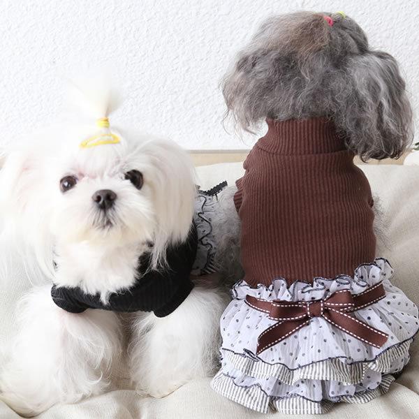 ◎★SALE★新作 犬服 犬 服 ハイネック フリルスカート ワンピース XS S M L XL ブラック ブラウン|pepedogcat|04
