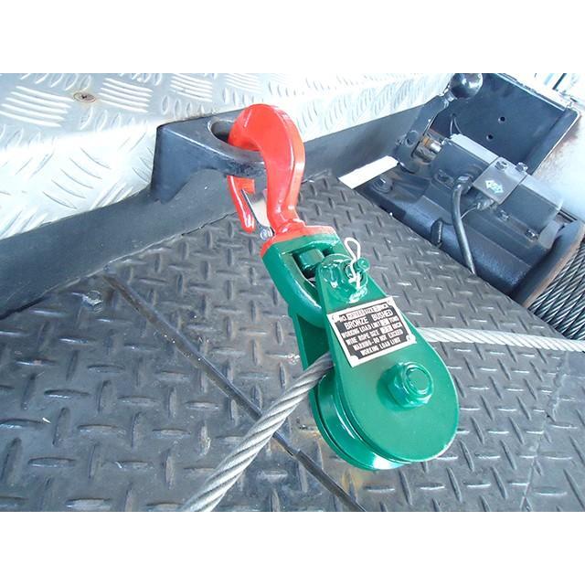 スナッチブロック 2トン ブロック滑車 フック式 スイベルタイプ レッカー車 積載車 セルフローダー トラック アメリカ製 レッカー用品 Snatch Block 2t|perotools|08