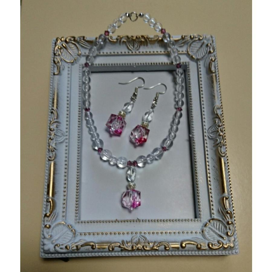 犬用・猫用のネックレスと飼い主様のピアスorイヤリングがお揃い オシャレなアイテム(ピンク)|pet-flower-chini