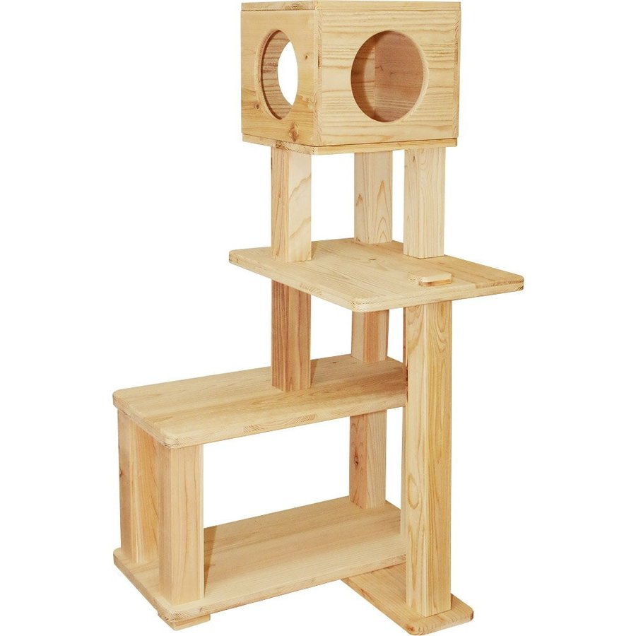 キャットタワー 木製 杉にゃん 据え置き ぷち3段BOX 全高132cm おすすめ シニア 子猫 1年保証 運動不足 おしゃれ 設置 簡単 pet-kagu-kagu 02