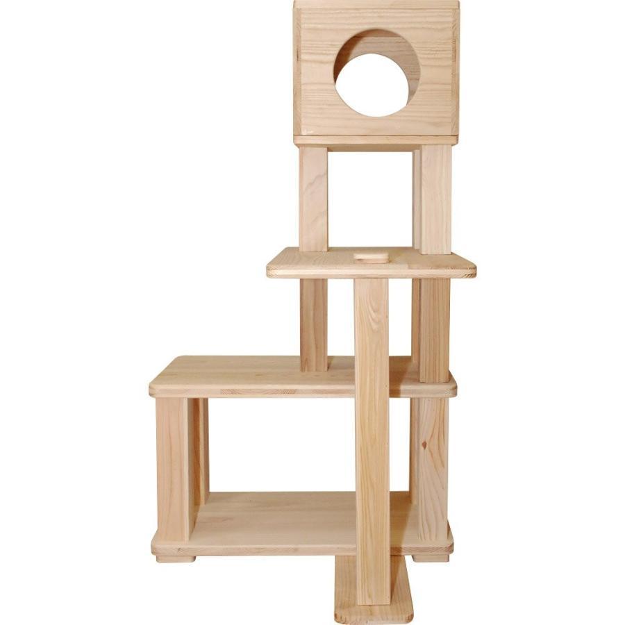 キャットタワー 木製 杉にゃん 据え置き ぷち3段BOX 全高132cm おすすめ シニア 子猫 1年保証 運動不足 おしゃれ 設置 簡単 pet-kagu-kagu 03